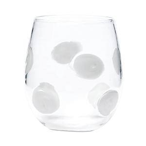 Vietri Drop White Stemless Wine Glass-Home