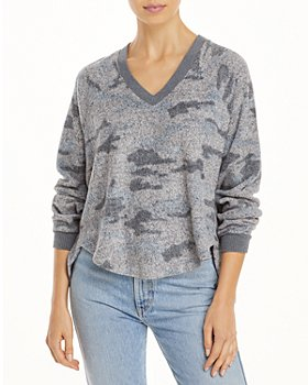 Vintage Havana - Camo Print Fuzzy Sweater