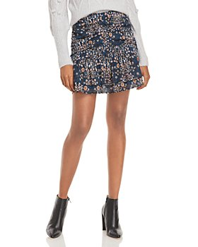 AQUA - Floral Print Ruched Mini Skirt - 100% Exclusive