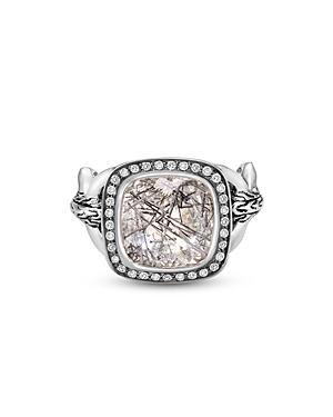 John Hardy Sterling Silver Classic Black Tourmalated Quartz & Diamond Square Statement Ring-Jewelry & Accessories