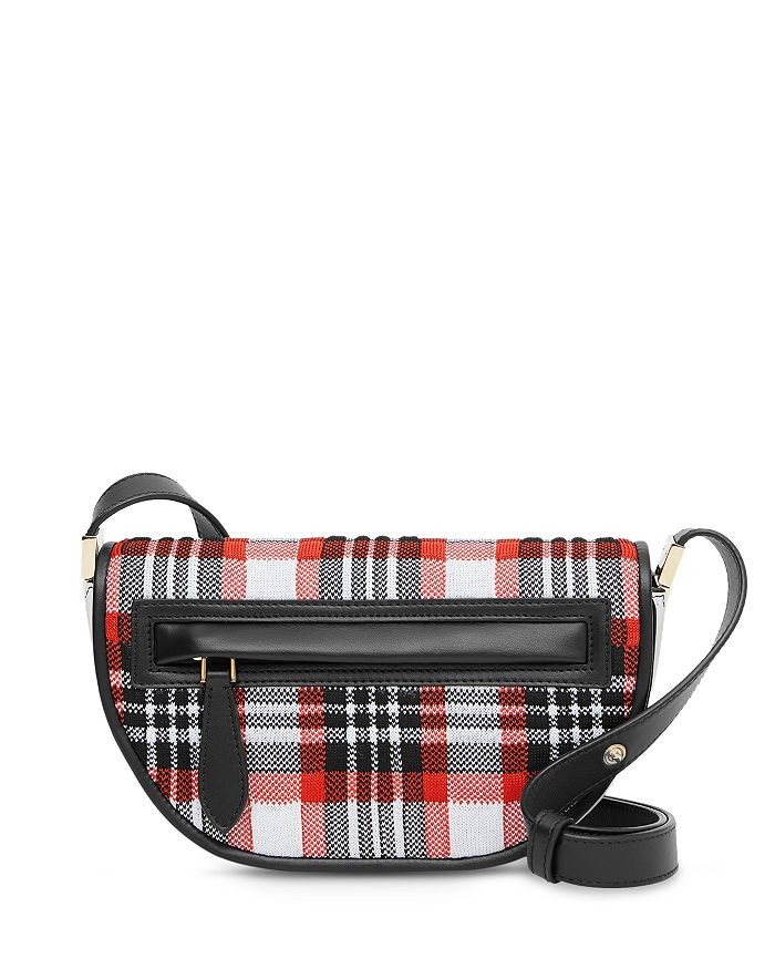 Burberry - Olympia Mini Knitted Tartan & Leather Shoulder Bag