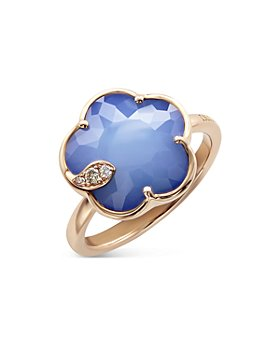 Pasquale Bruni - 18K Rose Gold Petit Joli Lapis White Agate Doublet & Diamond Ring