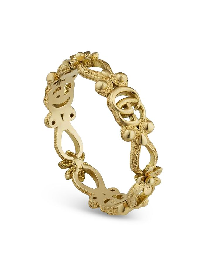 Gucci - 18K Yellow Gold Flora Double G & Flower Openwork Ring