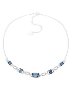 "Ralph Lauren - Pavé & Blue Stone Statement Necklace in Silver Tone, 16""-19"""