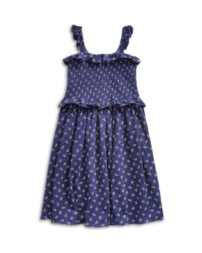 Ralph Lauren Girls' Smocked Floral Print Cotton Dress - Big Kid  | Bloomingdale's