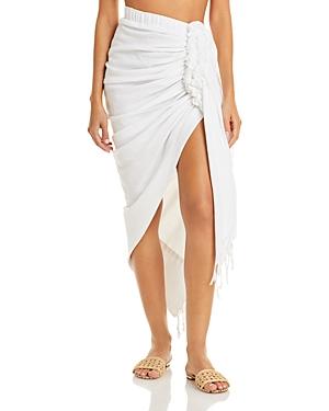 Tulum Ruched Fringed Skirt