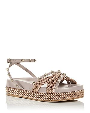 Valentino Garavani Women's Rockstud Torchon Wedge Espadrille Sandals