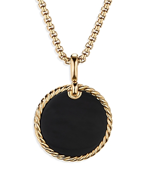 David Yurman SMALL CABLE DISC AMULET IN 18K YELLOW GOLD WITH BLACK ONYX
