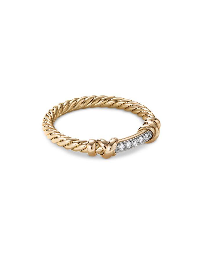 David Yurman Petite Helena Wrap Ring in 18K Yellow Gold with Diamonds  | Bloomingdale's