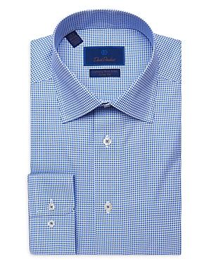 David Donahue Fine Line Check Trim Fit Dress Shirt-Men
