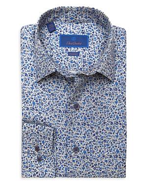David Donahue FLORAL TRIM FIT DRESS SHIRT