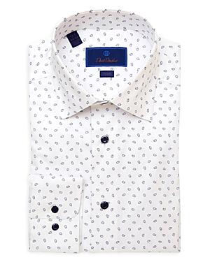 David Donahue Teardrop Trim Fit Dress Shirt-Men