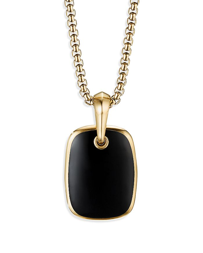 David Yurman - Tablet Amulet in 18K Yellow Gold with Black Onyx