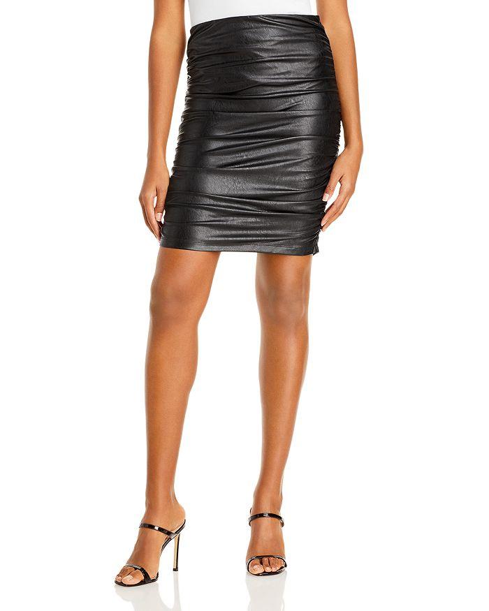 AQUA - Ruched Faux Leather Skirt