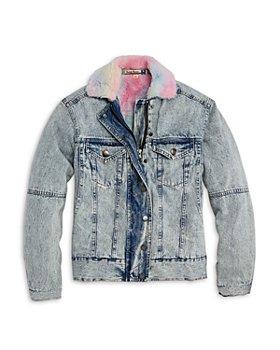 Vintage Havana - Girls' Rainbow Faux Fur Denim Jacket - Big Kid