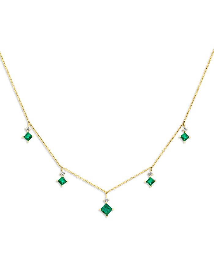 """Bloomingdale's - Emerald & Diamond Droplet Necklace in 14K Yellow Gold, 16"""" - 100% Exclusive"""