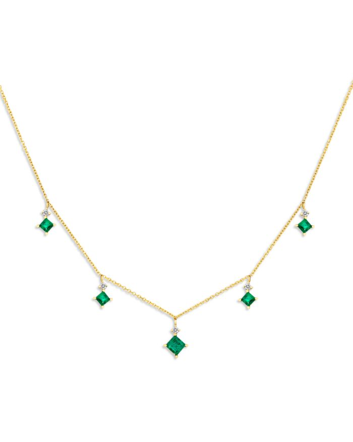 """Bloomingdale's Emerald & Diamond Droplet Necklace in 14K Yellow Gold, 16"""" - 100% Exclusive  
