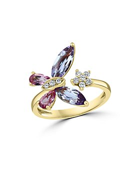 Bloomingdale's - Multi Gemstone & Diamond Butterfly & Flower Cuff Ring in 14K Yellow Gold