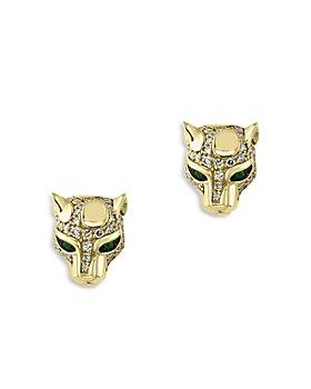 Bloomingdale's - Emerald & Diamond Cat Head Stud Earrings in 14K Yellow Gold