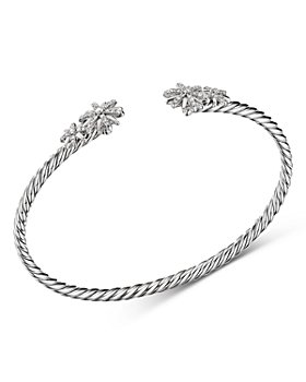 David Yurman - Sterling Silver Starburst Cable Bangle Bracelet with Diamonds