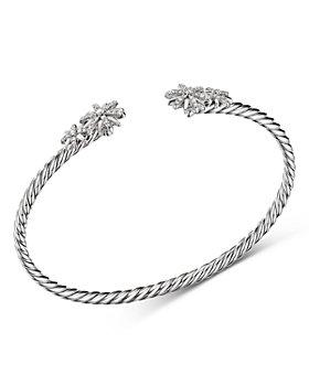 David Yurman - Sterling Silver Starburst Cable Bangle Bracelet with Diamonds