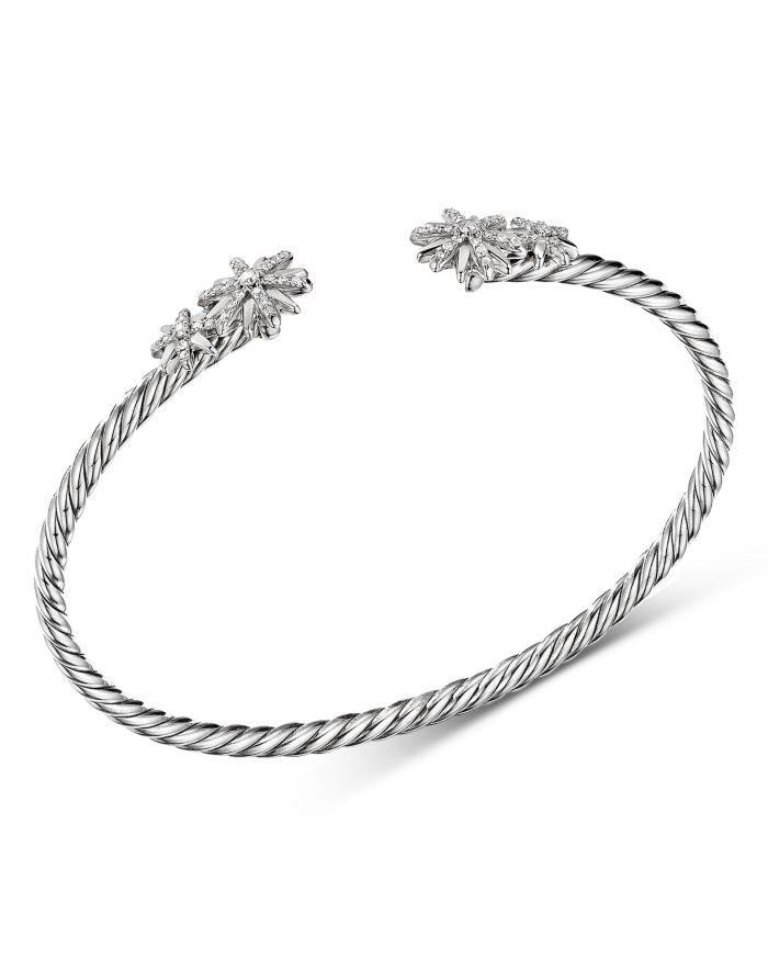 David Yurman Sterling Silver Starburst Cable Bangle Bracelet with Diamonds  | Bloomingdale's