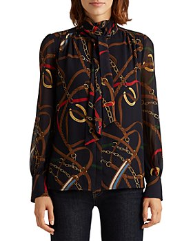 Ralph Lauren - Printed Tie Neck Top
