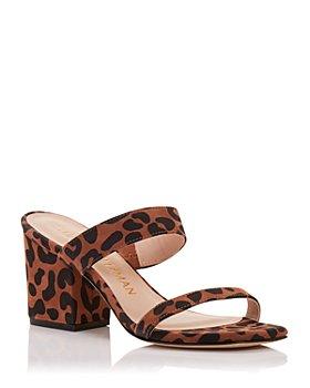 Stuart Weitzman - Women's Olive Leopard Print Block Heel Slide Sandals
