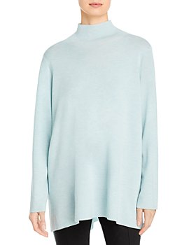 Eileen Fisher - Merino Wool Mock Neck Tunic Sweater