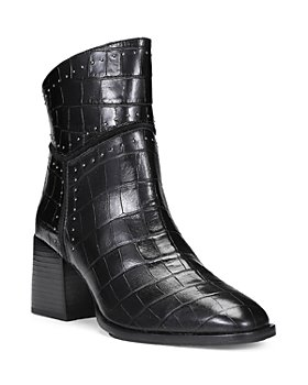 Donald Pliner - Women's Gemini Studded Trim Croc Embossed Leather Booties