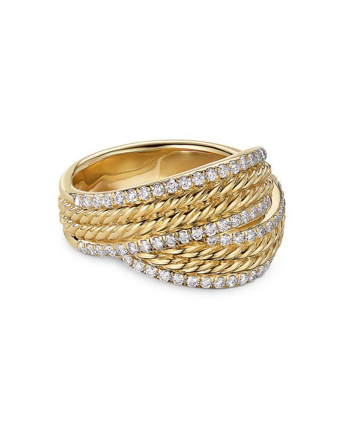David Yurman 18K Yellow Gold DY Origami Ring with Diamonds  | Bloomingdale's
