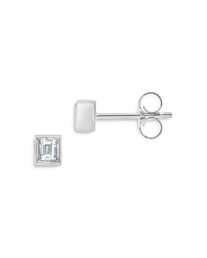 Bloomingdale's Diamond Bezel-Set Baguette Stud Earrings in 14K White Gold, 0.20 ct. t.w. - 100% Exclusive  | Bloomingdale's