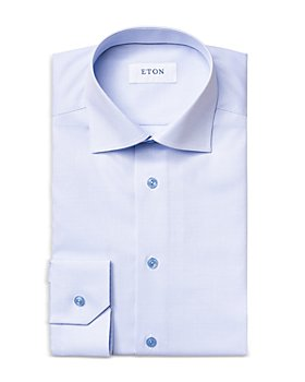Eton - Cotton Textured Convertible Cuff Contemporary Fit Dress Shirt