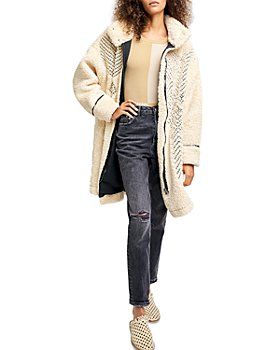 Free People - Avery Embroidered Faux Fur Teddy Coat