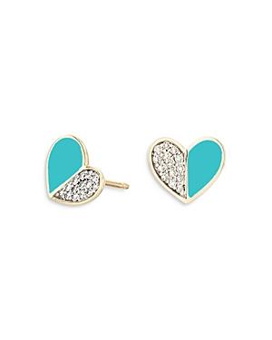 14K Yellow Gold Diamond & Turquoise Ceramic Heart Stud Earrings