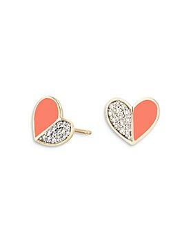 Adina Reyter - 14K Yellow Gold Diamond & Coral Ceramic Heart Stud Earrings