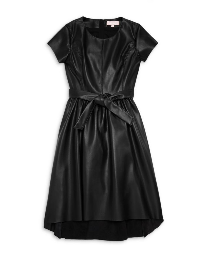 BCBG GIRLS Girls' Faux Leather High-Low Fit & Flare Dress - Big Kid    Bloomingdale's