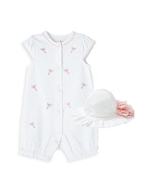 Little Me GIRLS' FLORAL ROMPER & HAT SET - BABY