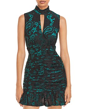 AQUA - Paisley Velvet Jacquard Dress - 100% Exclusive