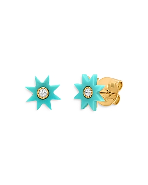 18K Yellow Gold Galaxia Gray Diamond & Turquoise Star Studs