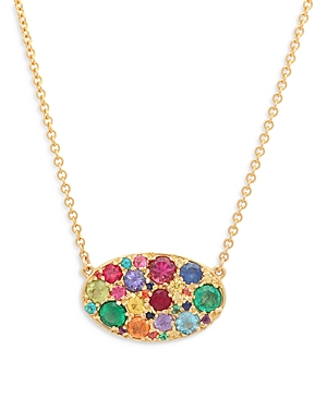 18K Yellow Gold Rainbow Sapphire Les Chevalieres Pendant Necklace