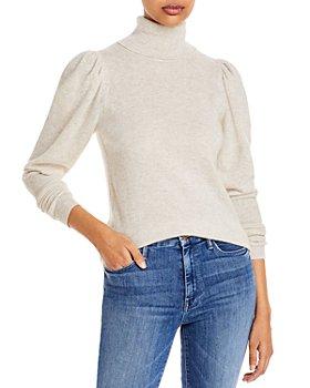 AQUA - Puff Sleeve Cashmere Turtleneck Sweater - 100% Exclusive