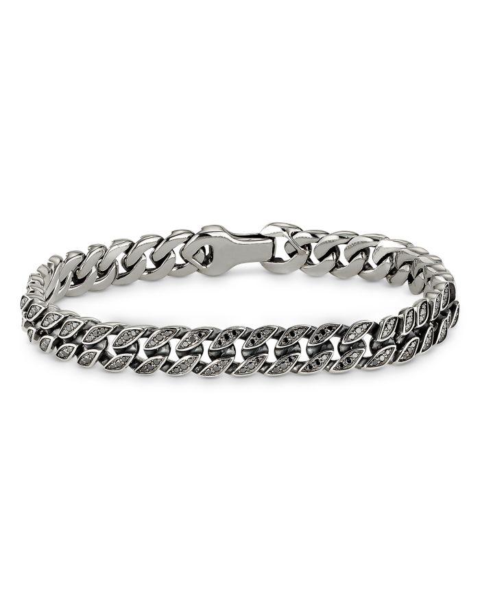 David Yurman Micro Curb Chain Bracelet with Black Diamonds  | Bloomingdale's