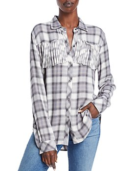 Rails - Dolly Plaid Fringe Trim Button Up Top - 100% Exclusive