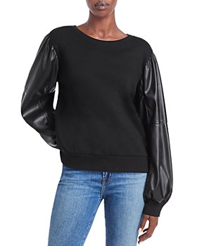 Generation Love - Finley Faux Leather Sleeve Sweatshirt