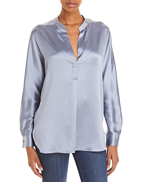 Vince Silk Banded Collar Blouse-Women