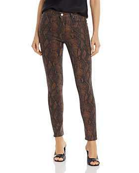 PAIGE - Hoxton Ankle Jeans in Coated Brown Snake - 100% Exclusive