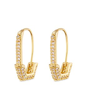 Luv Aj - Hexagon Safety Pin Pave Earrings