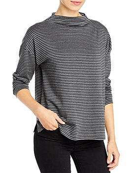 Eileen Fisher Petites - Striped Funnel Neck Top