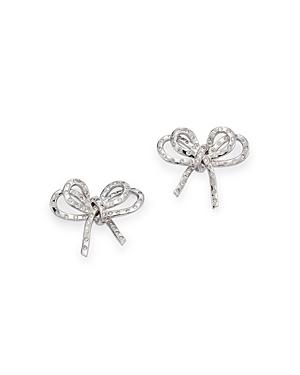 Hueb Bow Diamond Round-Cut Stud Earrings in 18K White Gold, 0.42 ct. t.w.